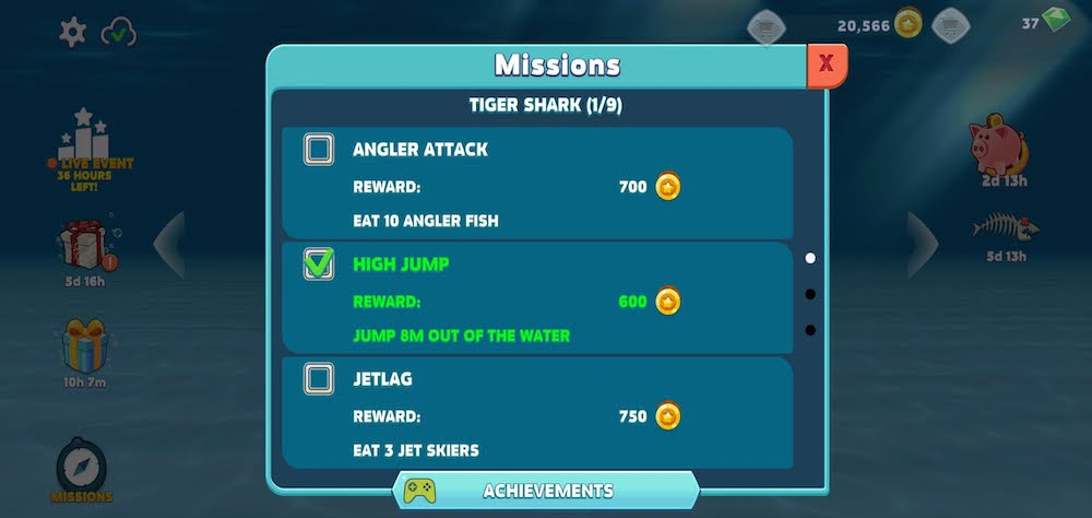 hungry shark evolution missions