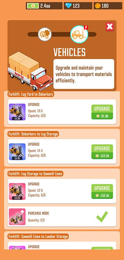 lumber inc vehicle upgrades