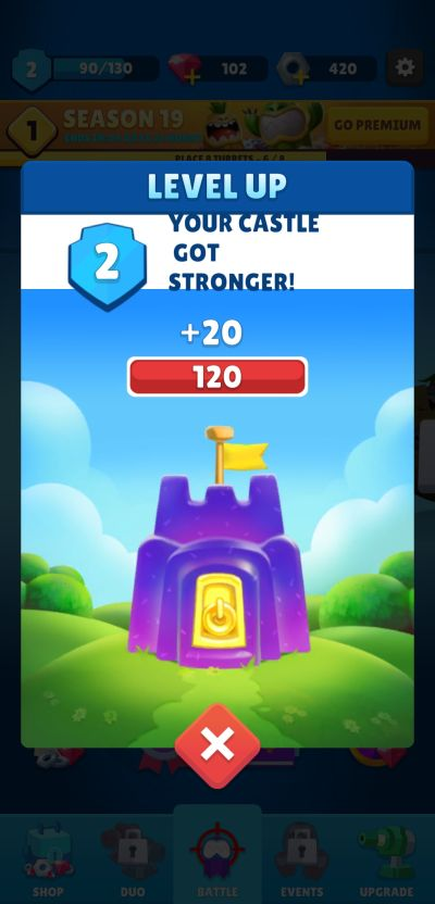leveling up  castle in auto defense