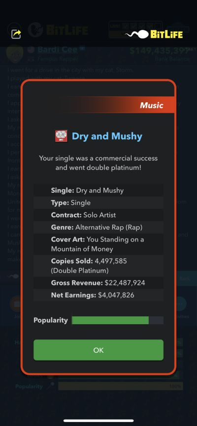 double platinum single in bitlife