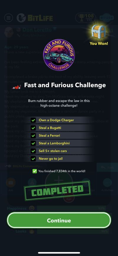 bitlife fast and furious challenge requirements