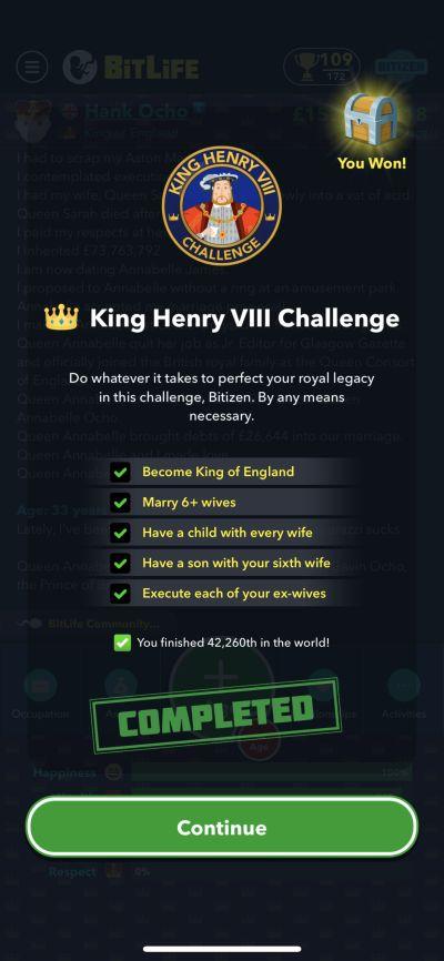 bitlife king henry viii challenge requirements