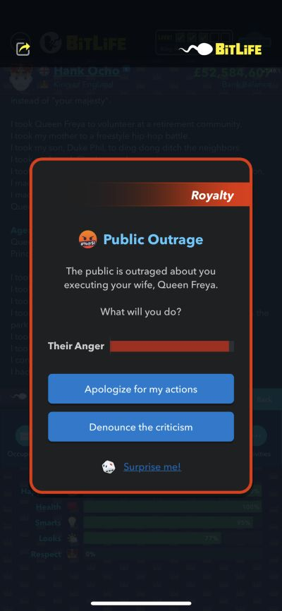 public outrage in bitlife