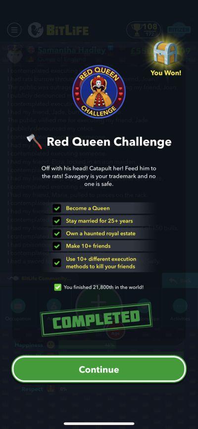 bitlife red queen challenge requirements
