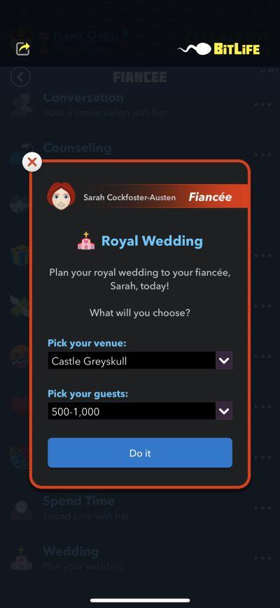 royal wedding in bitlife