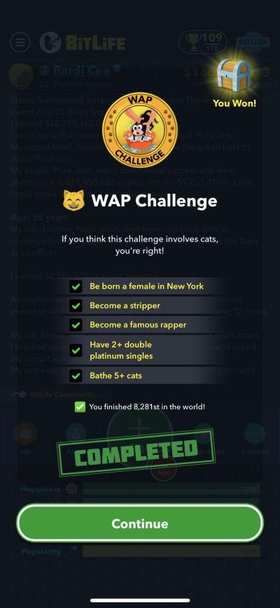 bitlife wap challenge requirements