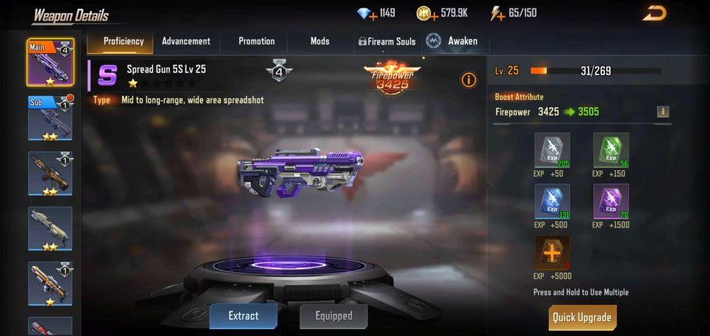 contra returns spread gun 5s