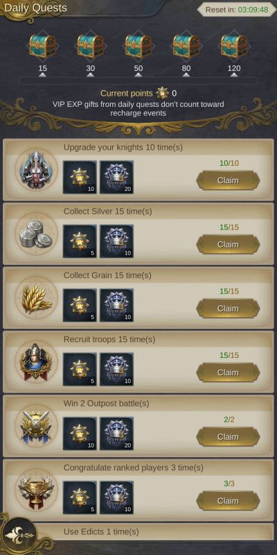 king's choice daily quests