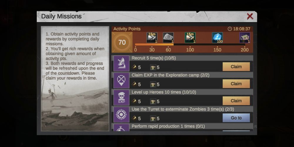 last fortress underground daily missions