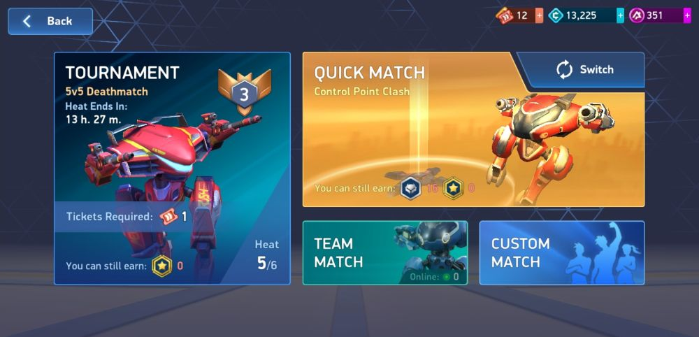mech arena robot showdown battle menu