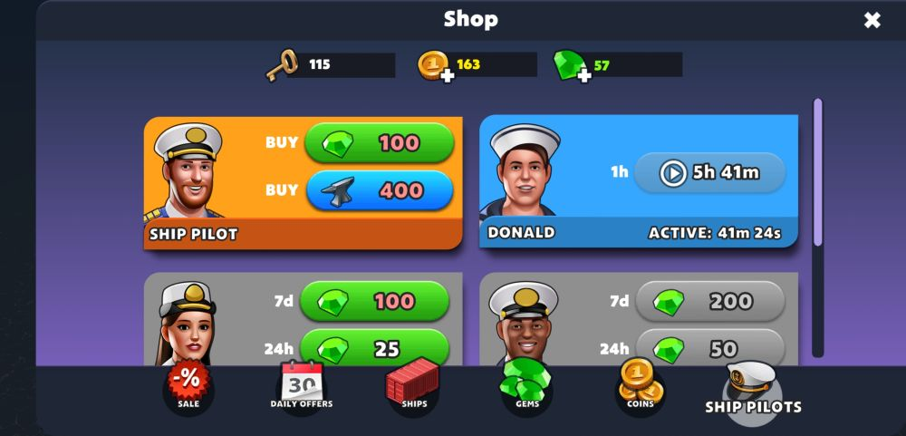 recruiting pilots in port city ship tycoon