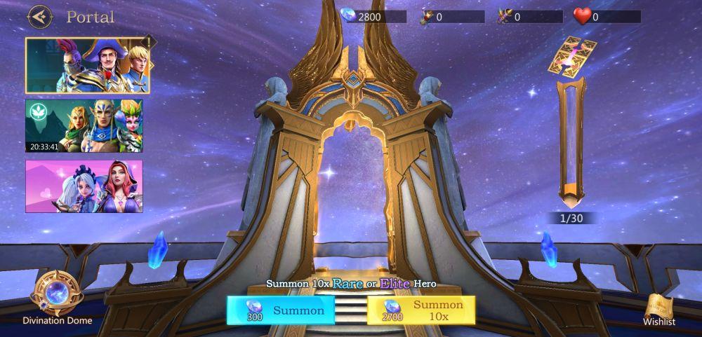 summoning heroes in rage of destiny