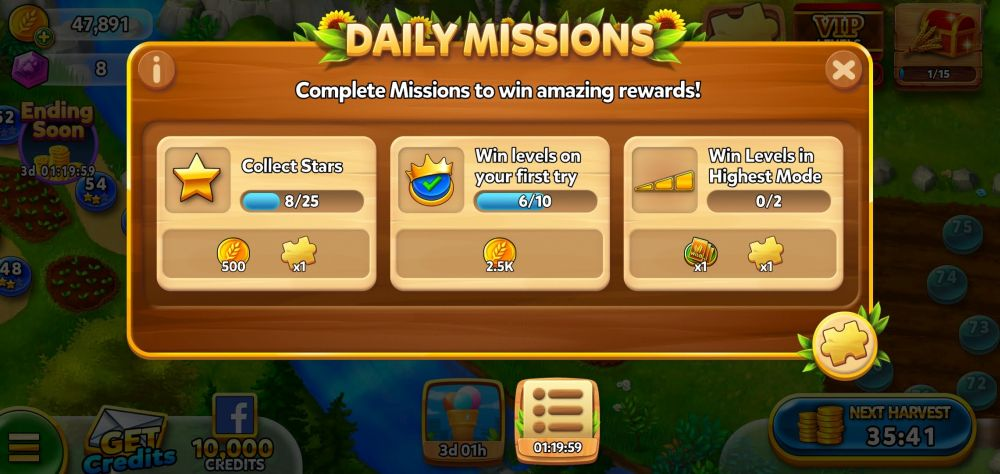solitaire grand harvest daily missions