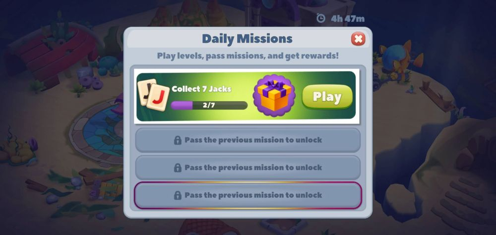 undersea solitaire tripeaks daily missions