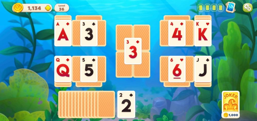 removing 5 cards in a row in undersea solitaire tripeaks