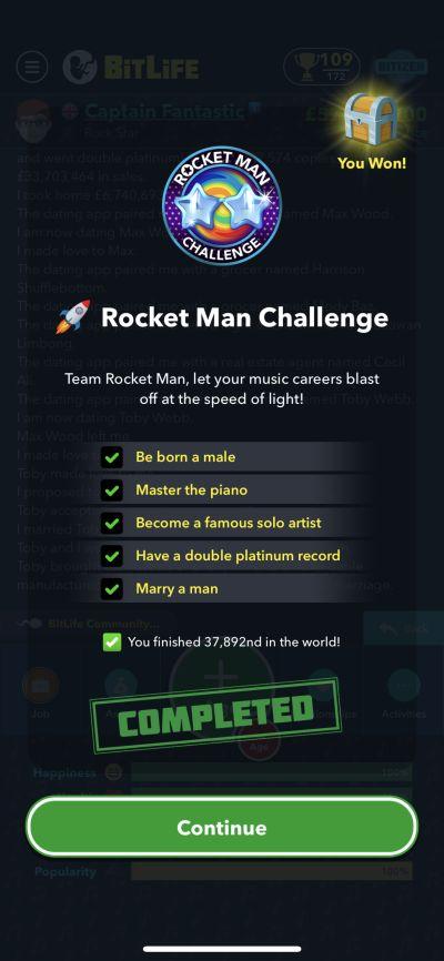 bitlife rocket man challenge requirements
