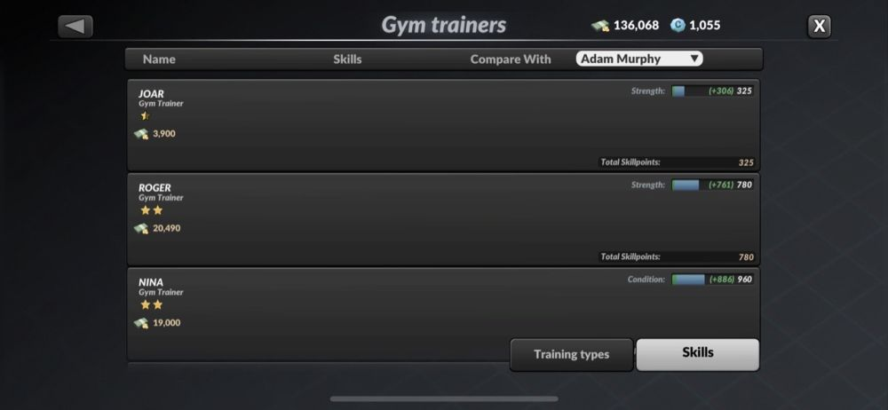 mma manager 2021 gym trainers