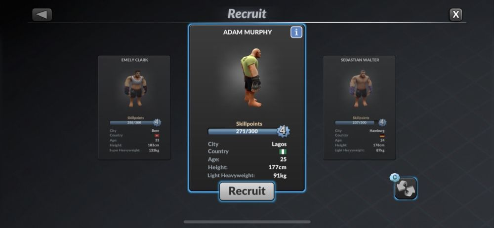 recruiting a fighter in mma manager 2021