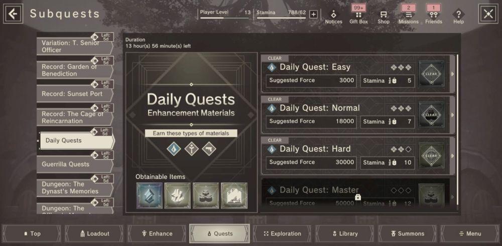 nier reincarnation daily quests