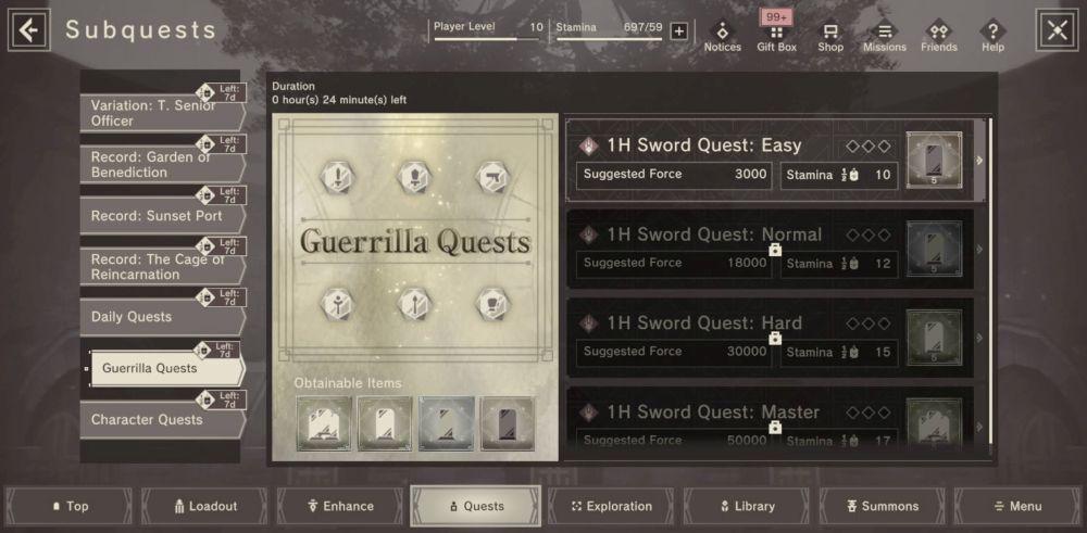 nier reincarnation guerilla quests