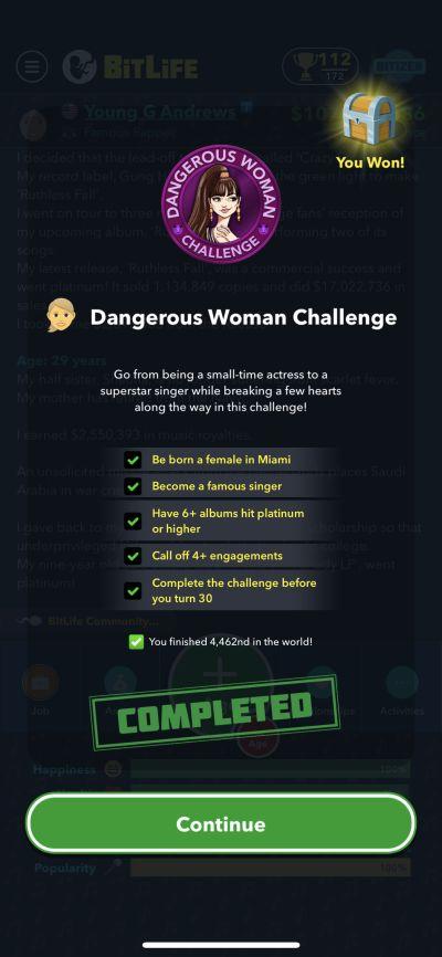 bitlife dangerous woman challenge requirements