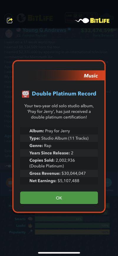 double platinum album in bitlife