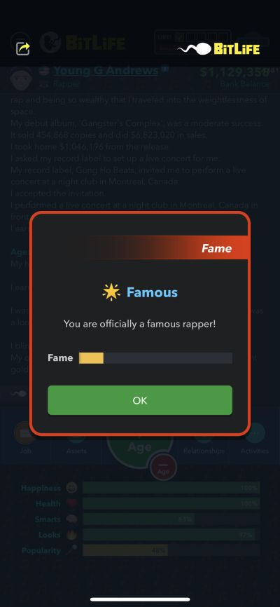 becoming a famous rapper in bitlife