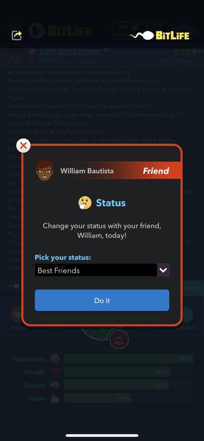 bitlife friend status