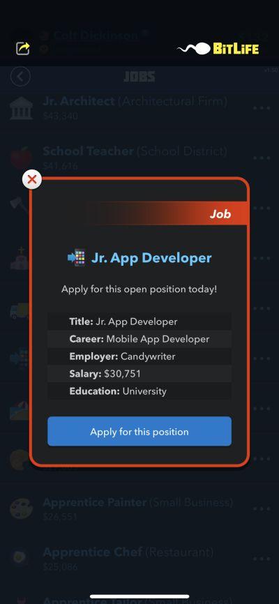 jr app developer job in bitlife