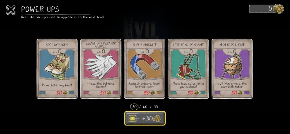 evil nun maze upgrades