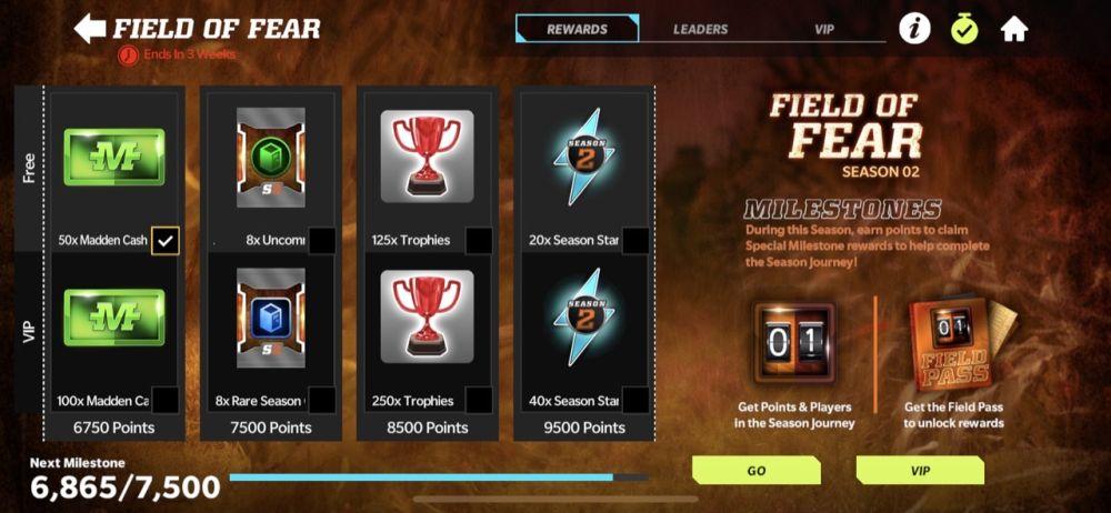 madden nfl 22 mobile field of fear milestone rewards