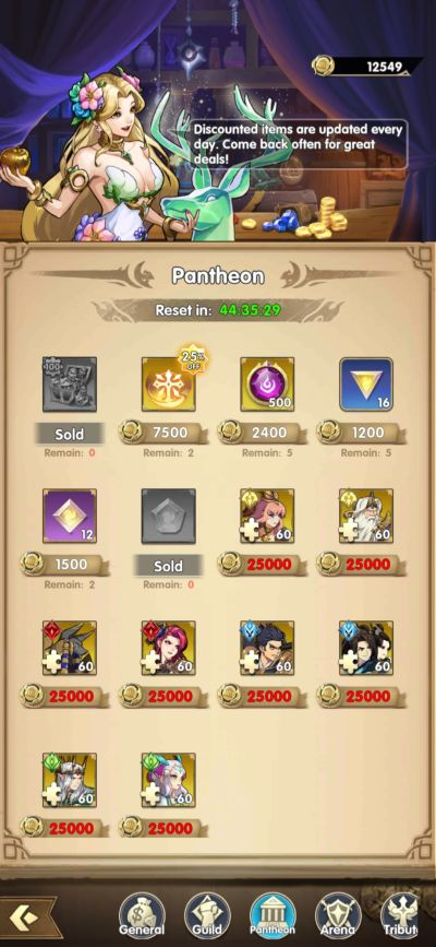 mythic heroes pantheon shop